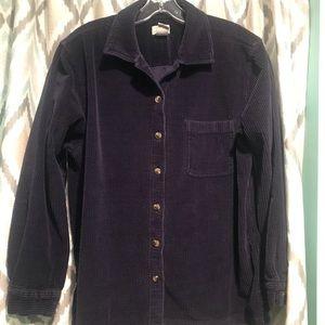 LL Bean Womans Shirt Button Closure Navy Blue Lg.